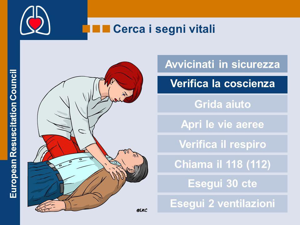 European Resuscitation Council Cerca i segni vitali Avvicinati in sicurezza Verifica la coscienza Grida aiuto Apri le vie aeree Verifica il respiro Ch