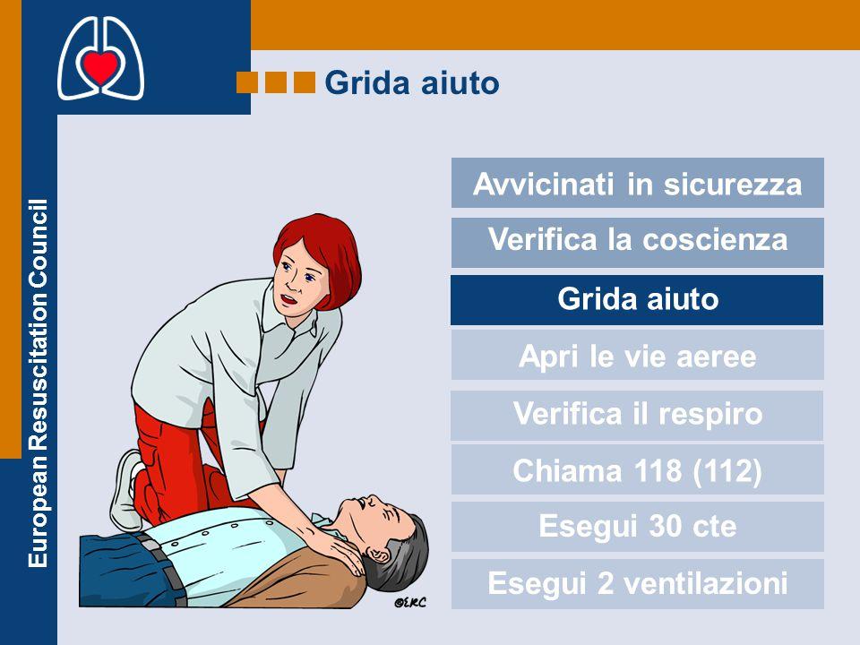 European Resuscitation Council Grida aiuto Avvicinati in sicurezza Verifica la coscienza Grida aiuto Apri le vie aeree Verifica il respiro Chiama 118