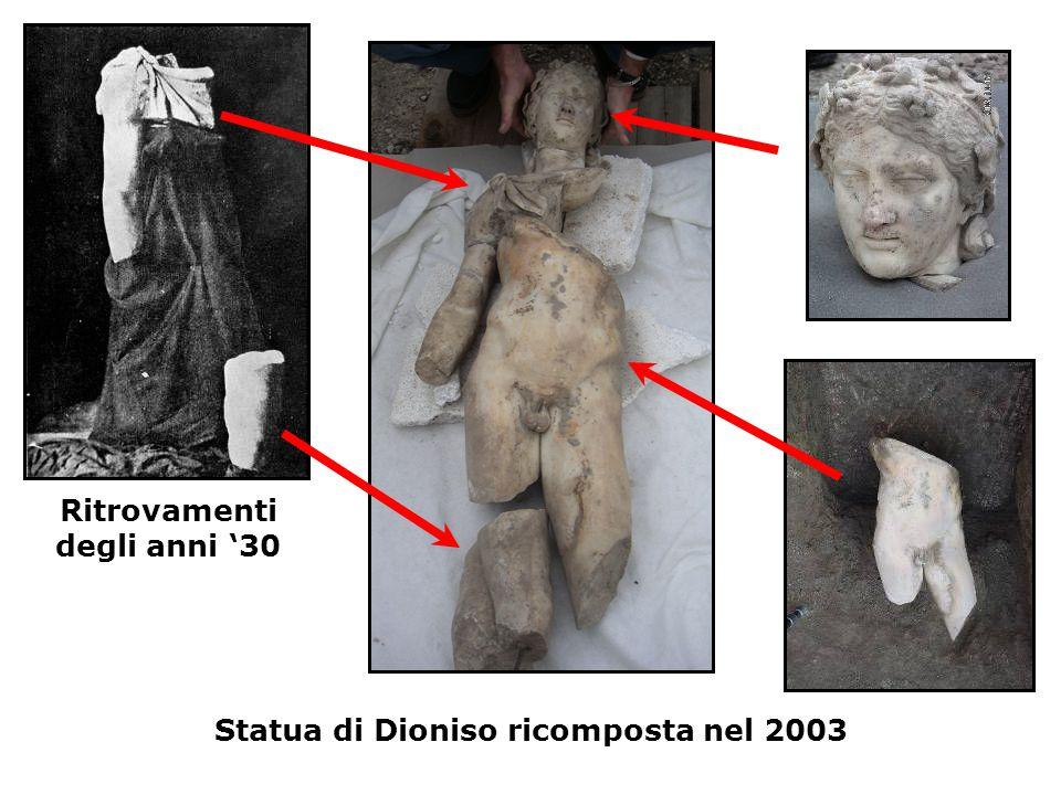 Ritrovamenti degli anni '30 Statua di Dioniso ricomposta nel 2003