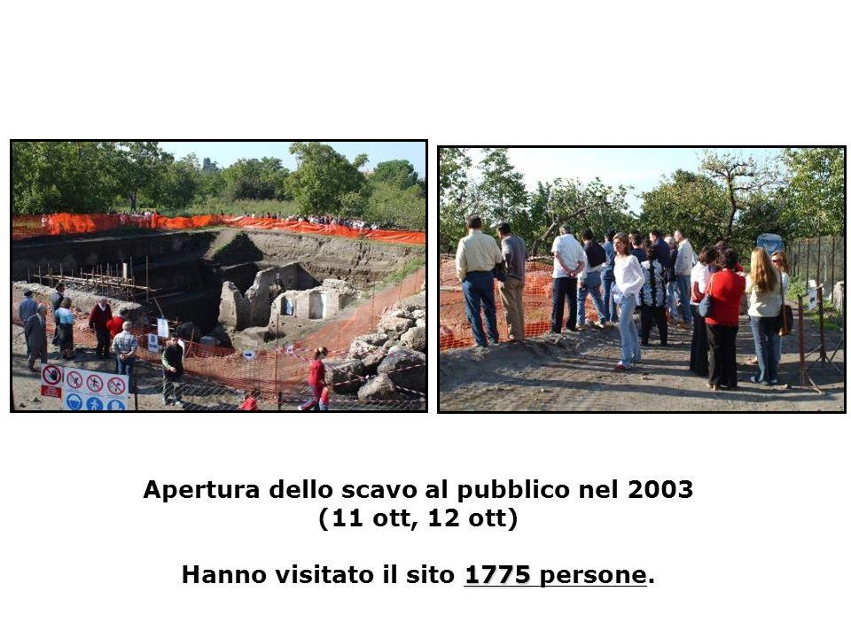 1775 Apertura dello scavo al pubblico nel 2003 (11 ott, 12 ott) Hanno visitato il sito 1775 persone.