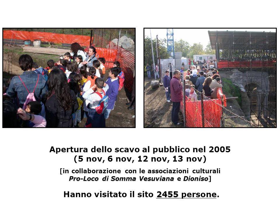 Pro-Loco di Somma VesuvianaDioniso 2455 Apertura dello scavo al pubblico nel 2005 (5 nov, 6 nov, 12 nov, 13 nov) [in collaborazione con le associazioni culturali Pro-Loco di Somma Vesuviana e Dioniso] Hanno visitato il sito 2455 persone.