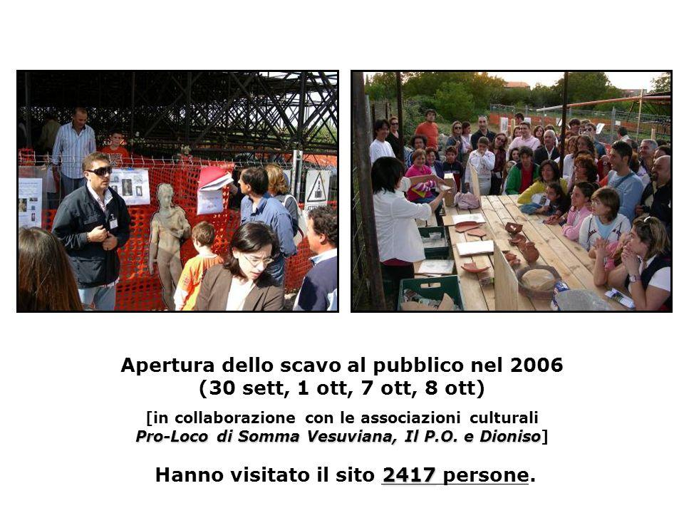 Pro-Loco di Somma Vesuviana, Il P.O. eDioniso 2417 Apertura dello scavo al pubblico nel 2006 (30 sett, 1 ott, 7 ott, 8 ott) [in collaborazione con le