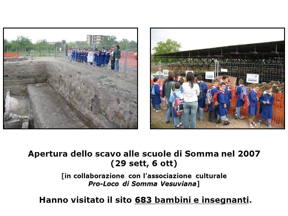 Pro-Loco di Somma Vesuviana 683 Apertura dello scavo alle scuole di Somma nel 2007 (29 sett, 6 ott) [in collaborazione con l'associazione culturale Pro-Loco di Somma Vesuviana] Hanno visitato il sito 683 bambini e insegnanti.