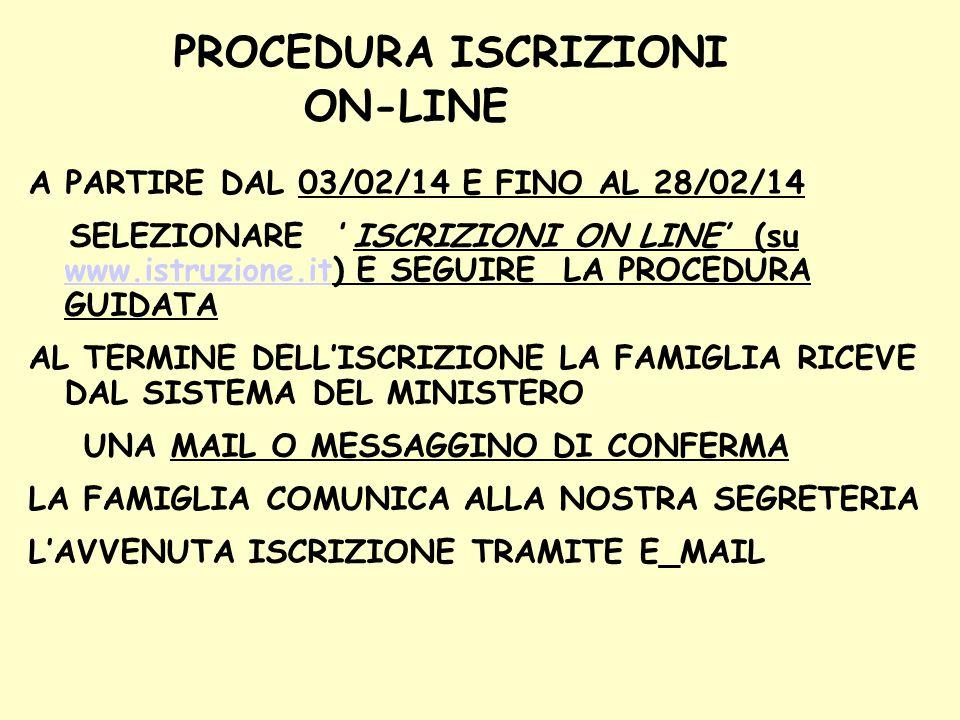 PROCEDURA ISCRIZIONI ON-LINE A PARTIRE DAL 03/02/14 E FINO AL 28/02/14 SELEZIONARE ' ISCRIZIONI ON LINE' (su www.istruzione.it) E SEGUIRE LA PROCEDURA GUIDATA www.istruzione.it AL TERMINE DELL'ISCRIZIONE LA FAMIGLIA RICEVE DAL SISTEMA DEL MINISTERO UNA MAIL O MESSAGGINO DI CONFERMA LA FAMIGLIA COMUNICA ALLA NOSTRA SEGRETERIA L'AVVENUTA ISCRIZIONE TRAMITE E_MAIL