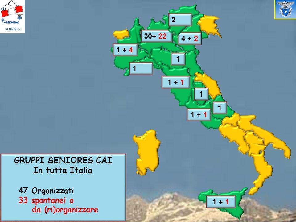 1 1 + 4 4 + 2 1 1 + 1 1 1 30+ 22 GRUPPI SENIORES CAI In tutta Italia 47 Organizzati 33 spontanei o da (ri)organizzare 2 SENIORES 2 1 + 1