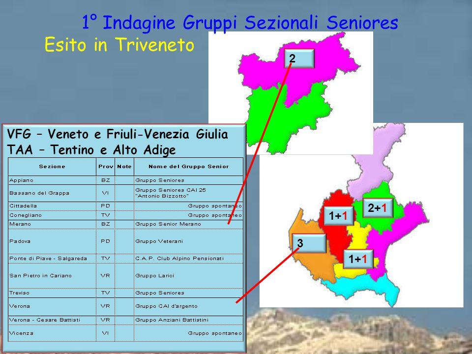 VFG – Veneto e Friuli-Venezia Giulia TAA – Tentino e Alto Adige 3 1+1 2+1 2 1° Indagine Gruppi Sezionali Seniores Esito in Triveneto