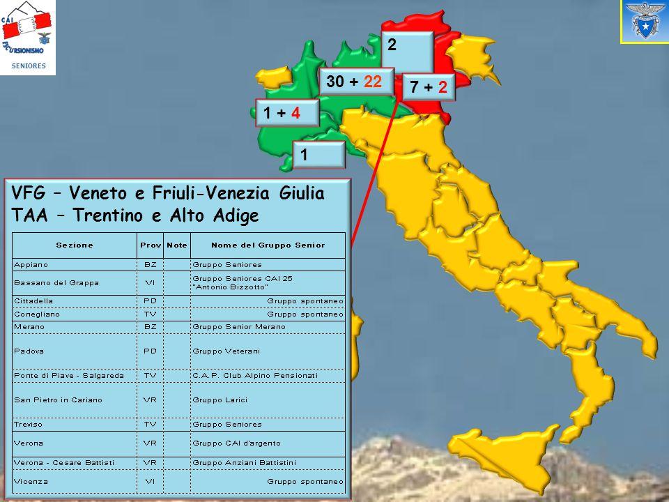 4 + 2 1 + 4 1 VFG – Veneto e Friuli-Venezia Giulia TAA – Trentino e Alto Adige 2 7 + 2 30 + 22 SENIORES