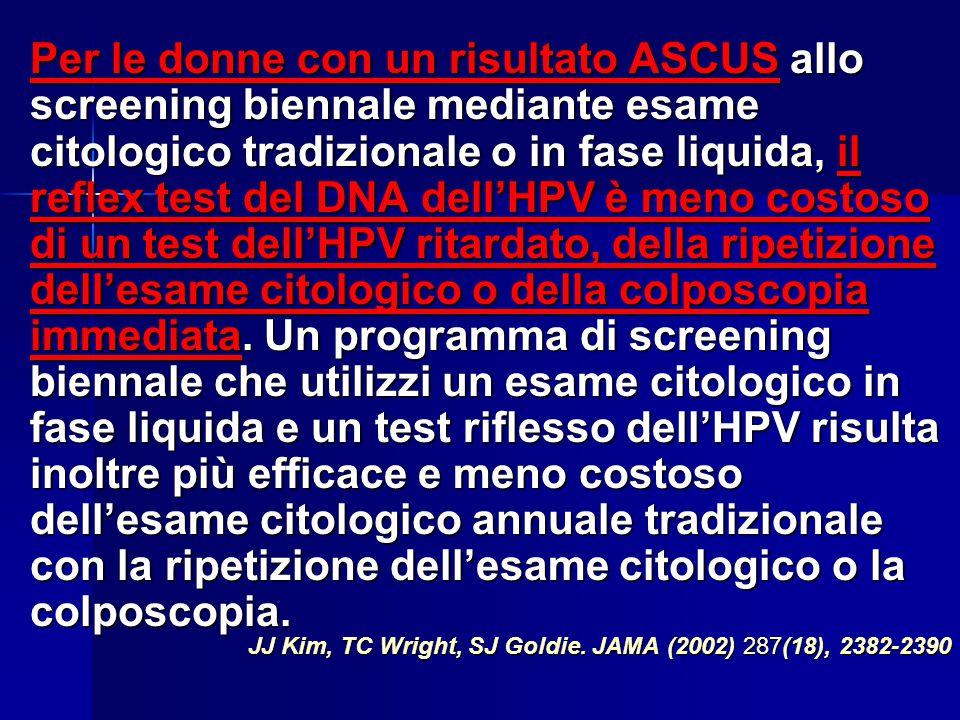 VANTAGGI DELL' HPV TEST RISPETTO AL PAP TEST COME STRUMENTO DI SCREENING PRIMARIO sensibilità pari o superiore sensibilità pari o superiore capacità d