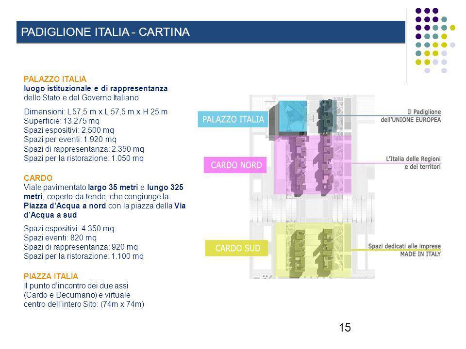 15 PADIGLIONE ITALIA - CARTINA CARDO Viale pavimentato largo 35 metri e lungo 325 metri, coperto da tende, che congiunge la Piazza d'Acqua a nord con la piazza della Via d'Acqua a sud Spazi espositivi: 4.350 mq Spazi eventi: 820 mq Spazi di rappresentanza: 920 mq Spazi per la ristorazione: 1.100 mq PALAZZO ITALIA luogo istituzionale e di rappresentanza dello Stato e del Governo Italiano Dimensioni: L 57,5 m x L 57,5 m x H 25 m Superficie: 13.275 mq Spazi espositivi: 2.500 mq Spazi per eventi: 1.920 mq Spazi di rappresentanza: 2.350 mq Spazi per la ristorazione: 1.050 mq PIAZZA ITALIA Il punto d'incontro dei due assi (Cardo e Decumano) e virtuale centro dell'intero Sito: (74m x 74m)