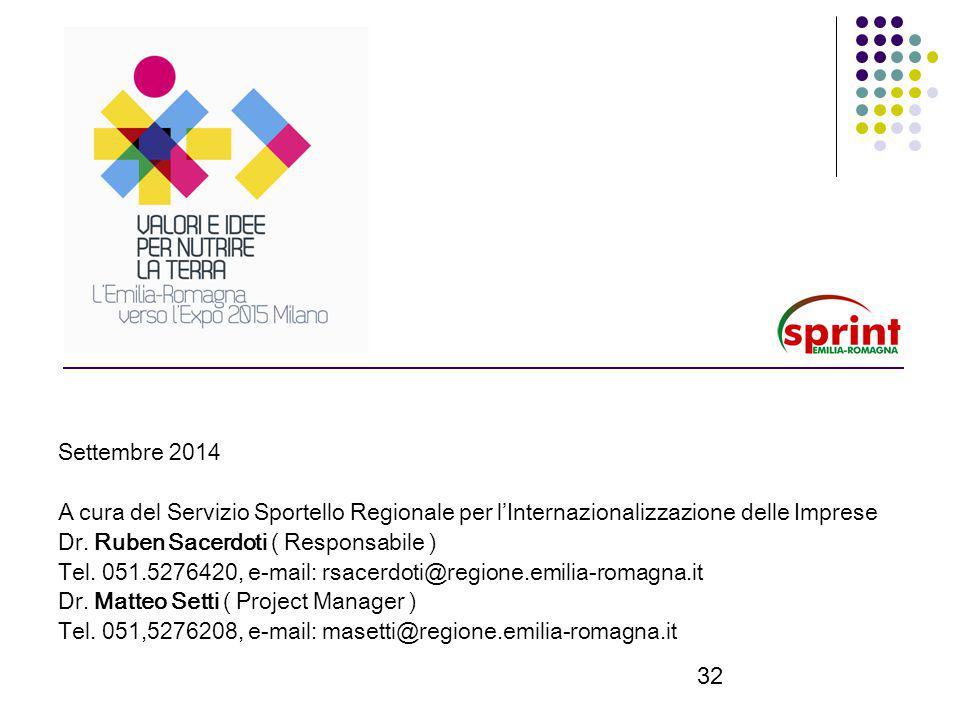 32 Settembre 2014 A cura del Servizio Sportello Regionale per l'Internazionalizzazione delle Imprese Dr.