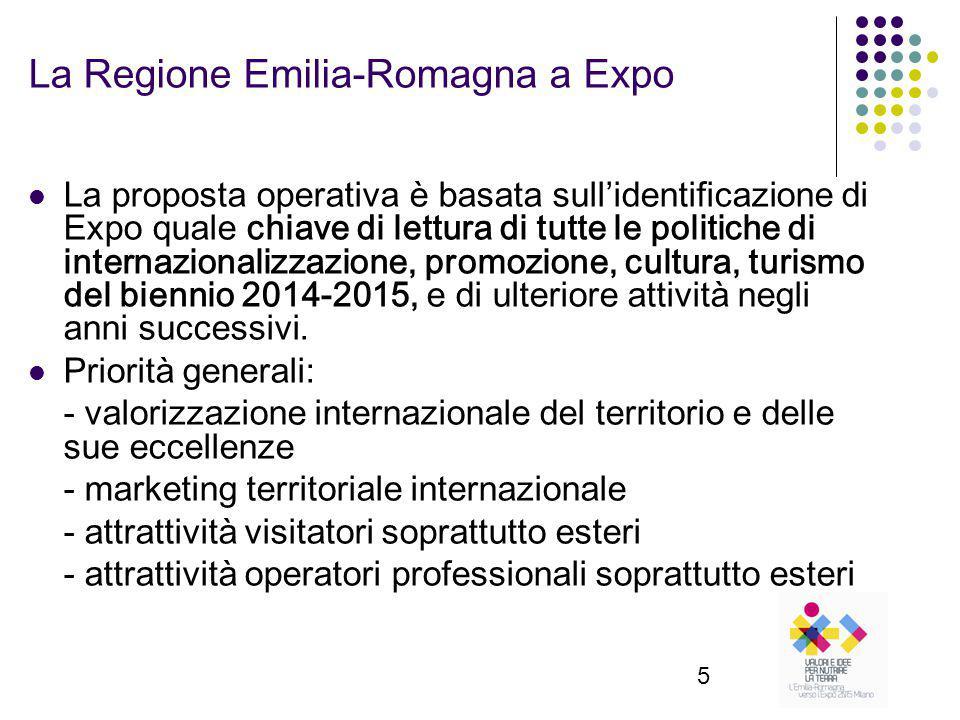 5 La Regione Emilia-Romagna a Expo La proposta operativa è basata sull'identificazione di Expo quale chiave di lettura di tutte le politiche di internazionalizzazione, promozione, cultura, turismo del biennio 2014-2015, e di ulteriore attività negli anni successivi.