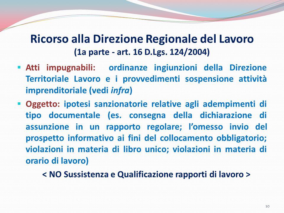 Ricorso alla Direzione Regionale del Lavoro (1a parte - art. 16 D.Lgs. 124/2004)  Atti impugnabili: ordinanze ingiunzioni della Direzione Territorial
