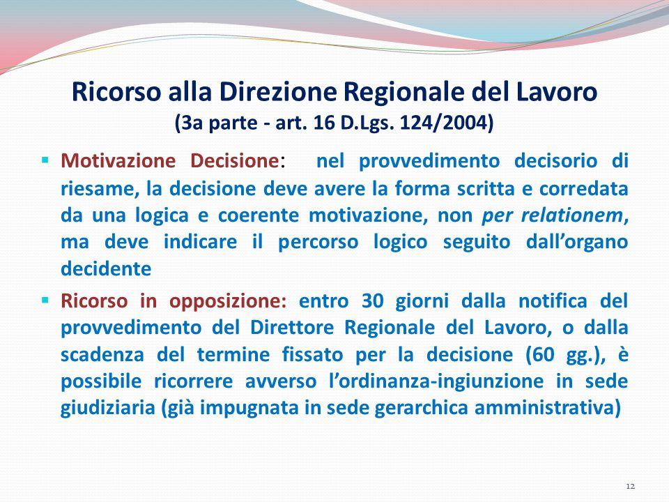 Ricorso alla Direzione Regionale del Lavoro (3a parte - art. 16 D.Lgs. 124/2004)  Motivazione Decisione : nel provvedimento decisorio di riesame, la