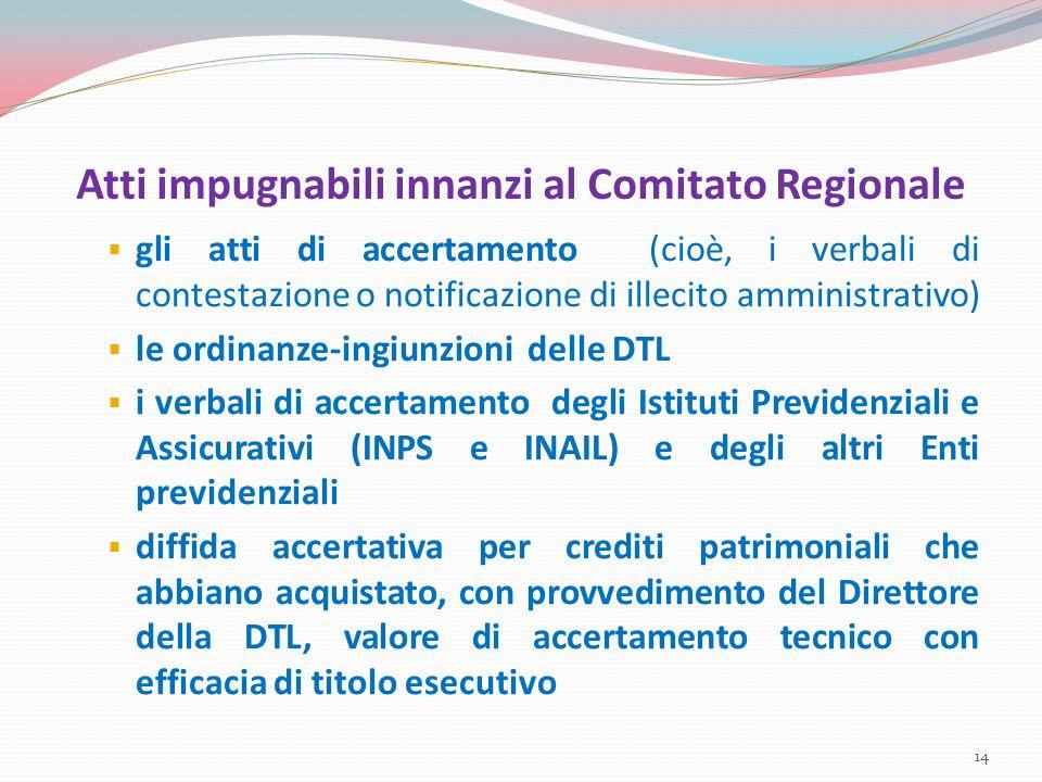 Atti impugnabili innanzi al Comitato Regionale  gli atti di accertamento (cioè, i verbali di contestazione o notificazione di illecito amministrativo