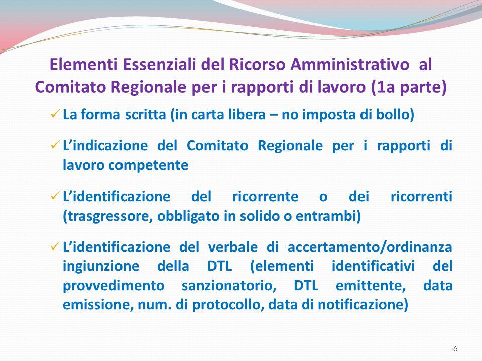 Elementi Essenziali del Ricorso Amministrativo al Comitato Regionale per i rapporti di lavoro (1a parte) La forma scritta (in carta libera – no impost