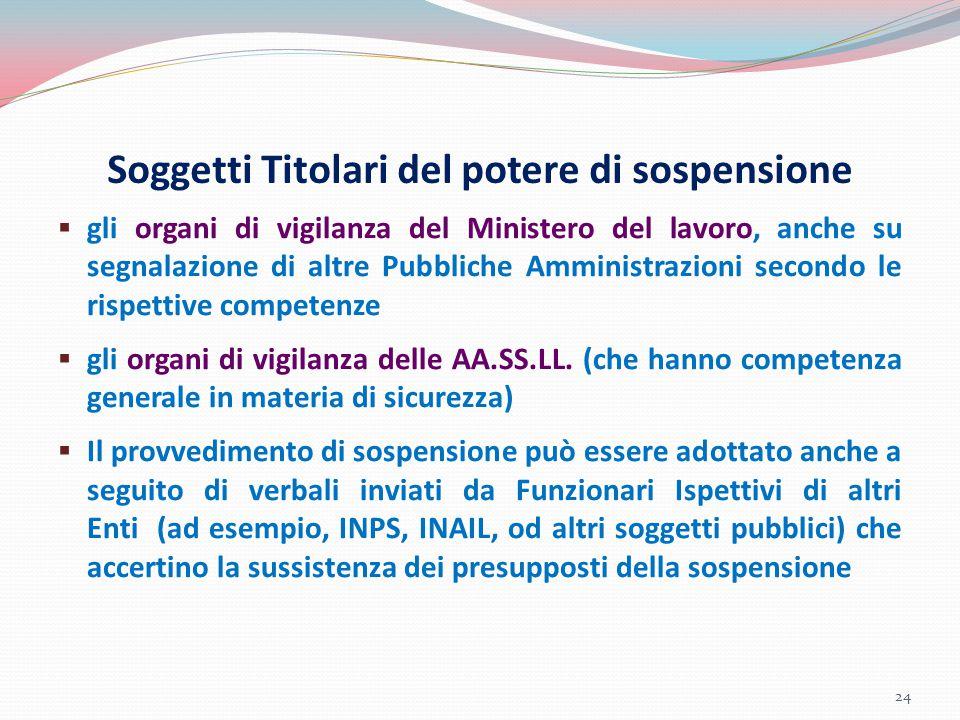 Soggetti Titolari del potere di sospensione  gli organi di vigilanza del Ministero del lavoro, anche su segnalazione di altre Pubbliche Amministrazio