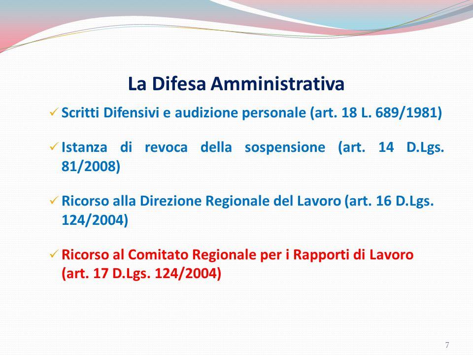 La Difesa Amministrativa Scritti Difensivi e audizione personale (art. 18 L. 689/1981) Istanza di revoca della sospensione (art. 14 D.Lgs. 81/2008) Ri