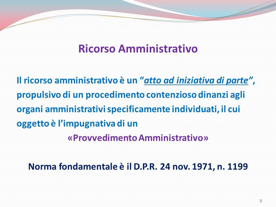 """Ricorso Amministrativo Il ricorso amministrativo è un """"atto ad iniziativa di parte"""", propulsivo di un procedimento contenzioso dinanzi agli organi amm"""