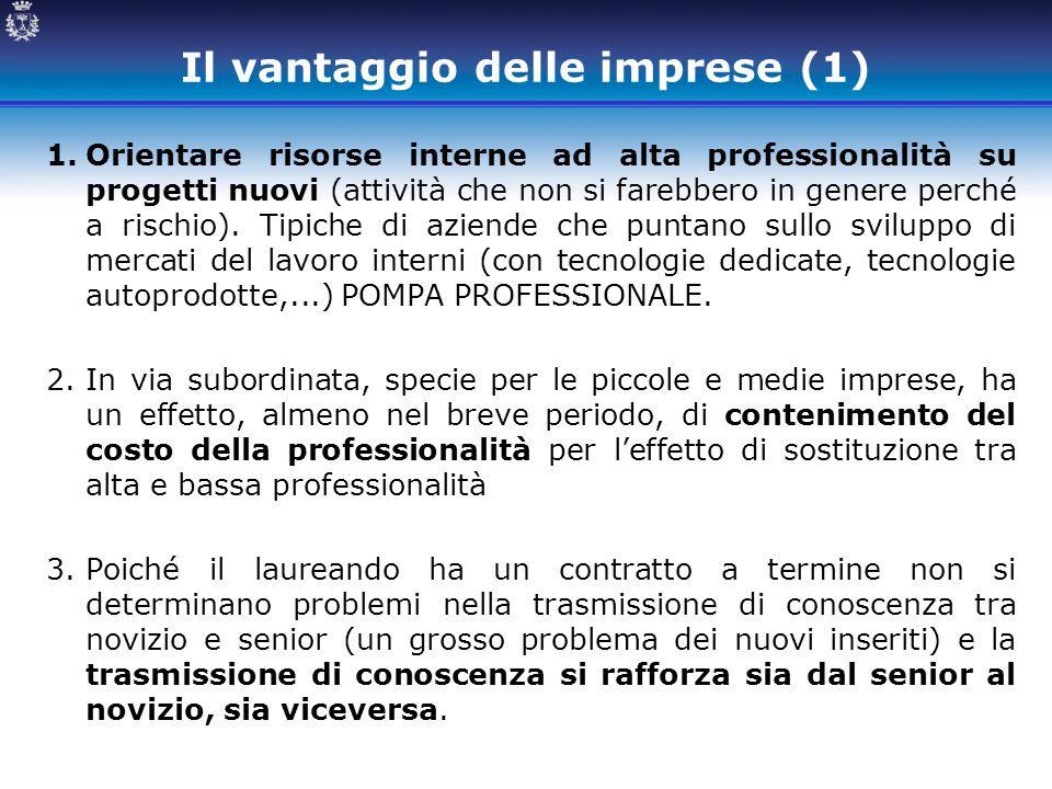 Il vantaggio delle imprese (1) 1.Orientare risorse interne ad alta professionalità su progetti nuovi (attività che non si farebbero in genere perché a