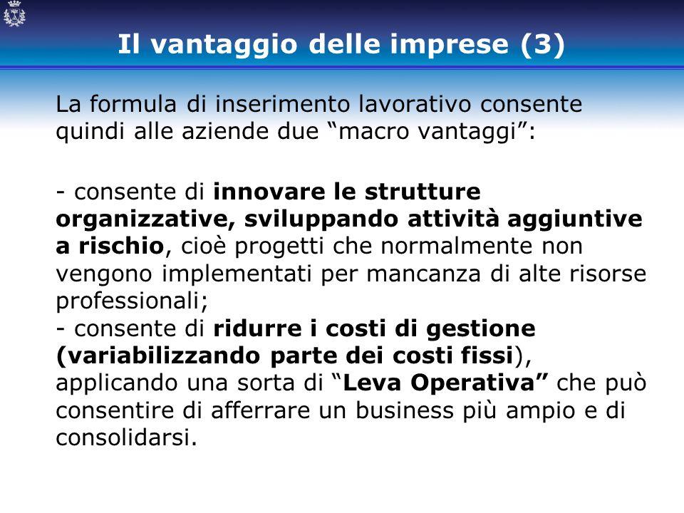 """Il vantaggio delle imprese (3) La formula di inserimento lavorativo consente quindi alle aziende due """"macro vantaggi"""": - consente di innovare le strut"""