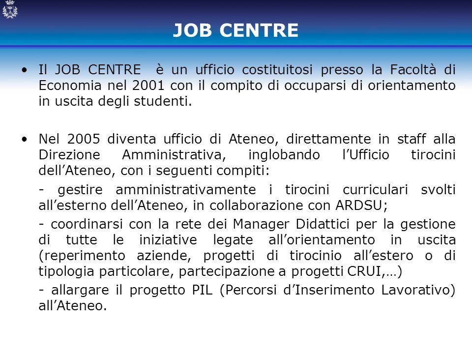 JOB CENTRE Il JOB CENTRE è un ufficio costituitosi presso la Facoltà di Economia nel 2001 con il compito di occuparsi di orientamento in uscita degli