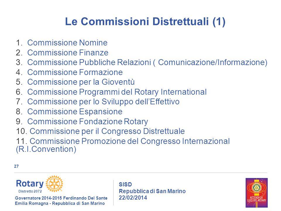 27 SISD Repubblica di San Marino 22/02/2014 Governatore 2014-2015 Ferdinando Del Sante Emilia Romagna - Repubblica di San Marino Distretto 2072 Le Commissioni Distrettuali (1) 1.