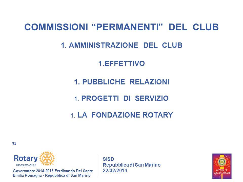 31 SISD Repubblica di San Marino 22/02/2014 Governatore 2014-2015 Ferdinando Del Sante Emilia Romagna - Repubblica di San Marino Distretto 2072 COMMISSIONI PERMANENTI DEL CLUB 1.