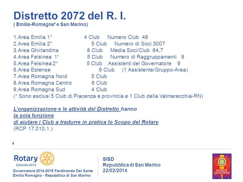 4 SISD Repubblica di San Marino 22/02/2014 Governatore 2014-2015 Ferdinando Del Sante Emilia Romagna - Repubblica di San Marino Distretto 2072 Distretto 2072 del R.