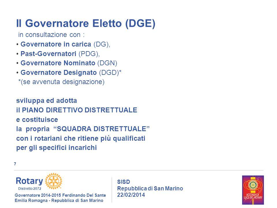 7 SISD Repubblica di San Marino 22/02/2014 Governatore 2014-2015 Ferdinando Del Sante Emilia Romagna - Repubblica di San Marino Distretto 2072 Il Governatore Eletto (DGE) in consultazione con : Governatore in carica (DG), Past-Governatori (PDG), Governatore Nominato (DGN) Governatore Designato (DGD)* *(se avvenuta designazione) sviluppa ed adotta il PIANO DIRETTIVO DISTRETTUALE e costituisce la propria SQUADRA DISTRETTUALE con i rotariani che ritiene più qualificati per gli specifici incarichi