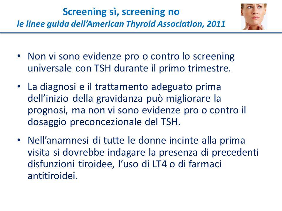 Non vi sono evidenze pro o contro lo screening universale con TSH durante il primo trimestre. La diagnosi e il trattamento adeguato prima dell'inizio
