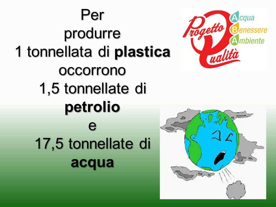 Perprodurre 1 tonnellata di plastica occorrono 1,5 tonnellate di petrolio e 17,5 tonnellate di acqua