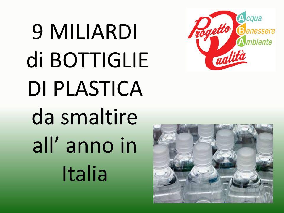 9 MILIARDI di BOTTIGLIE DI PLASTICA da smaltire all' anno in Italia