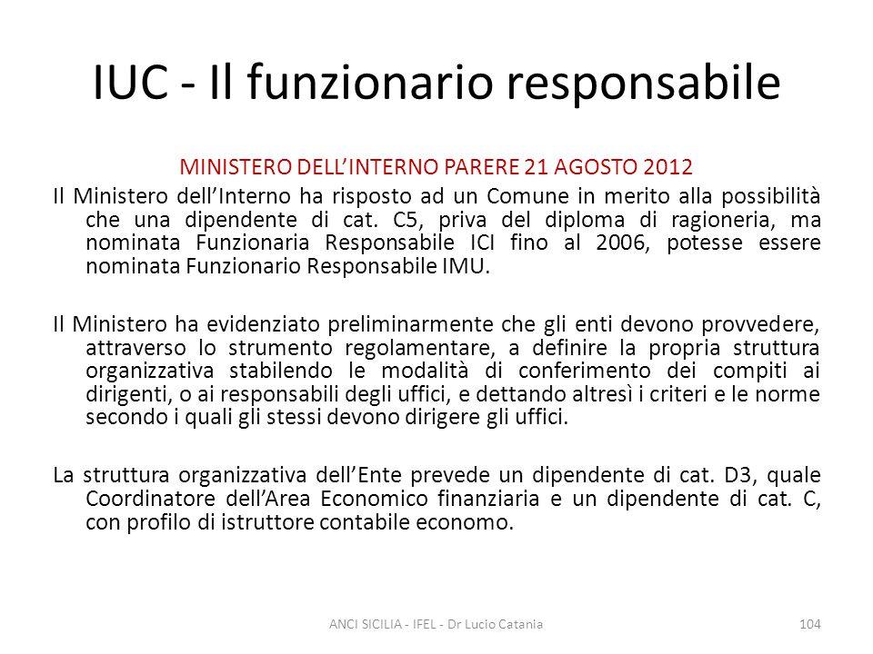 IUC - Il funzionario responsabile MINISTERO DELL'INTERNO PARERE 21 AGOSTO 2012 Il Ministero dell'Interno ha risposto ad un Comune in merito alla possi