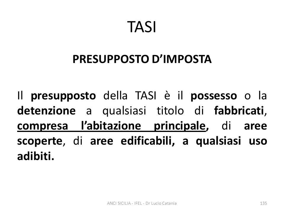TASI PRESUPPOSTO D'IMPOSTA Il presupposto della TASI è il possesso o la detenzione a qualsiasi titolo di fabbricati, compresa l'abitazione principale,