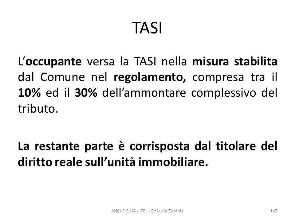 TASI L'occupante versa la TASI nella misura stabilita dal Comune nel regolamento, compresa tra il 10% ed il 30% dell'ammontare complessivo del tributo