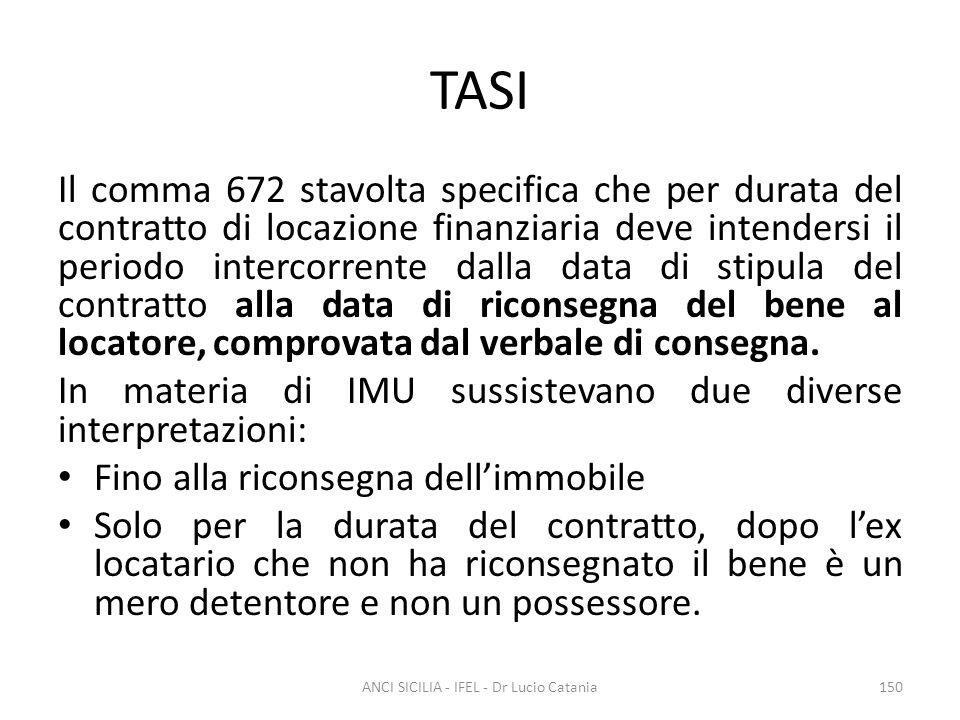 TASI Il comma 672 stavolta specifica che per durata del contratto di locazione finanziaria deve intendersi il periodo intercorrente dalla data di stip