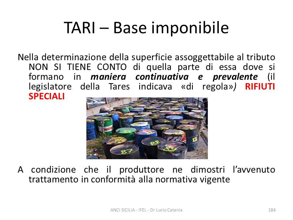 TARI – Base imponibile Nella determinazione della superficie assoggettabile al tributo NON SI TIENE CONTO di quella parte di essa dove si formano in m