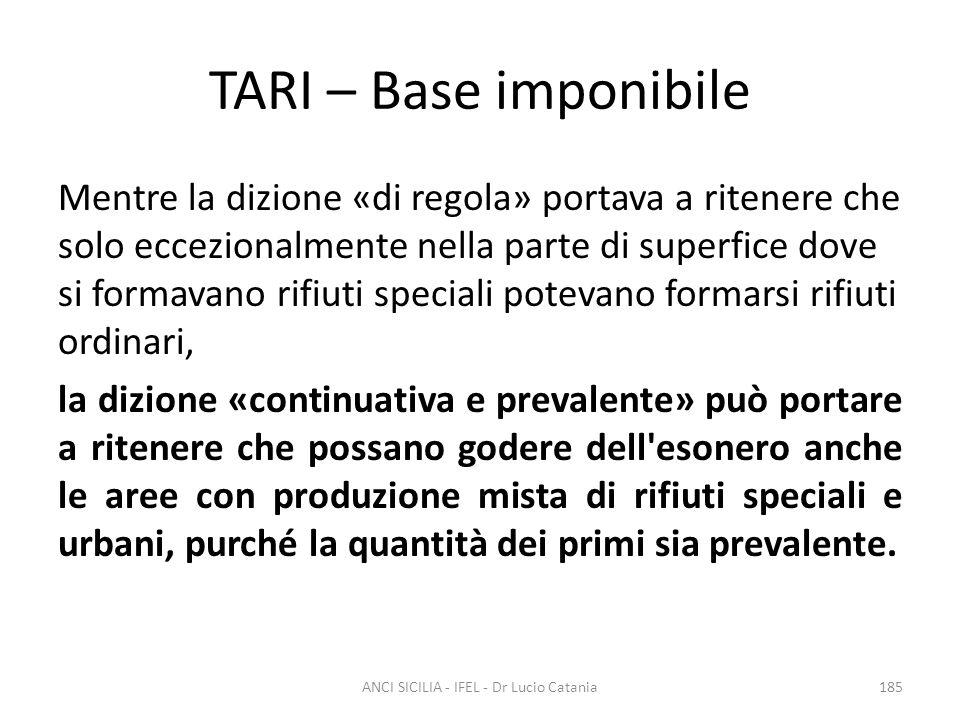 TARI – Base imponibile Mentre la dizione «di regola» portava a ritenere che solo eccezionalmente nella parte di superfice dove si formavano rifiuti sp