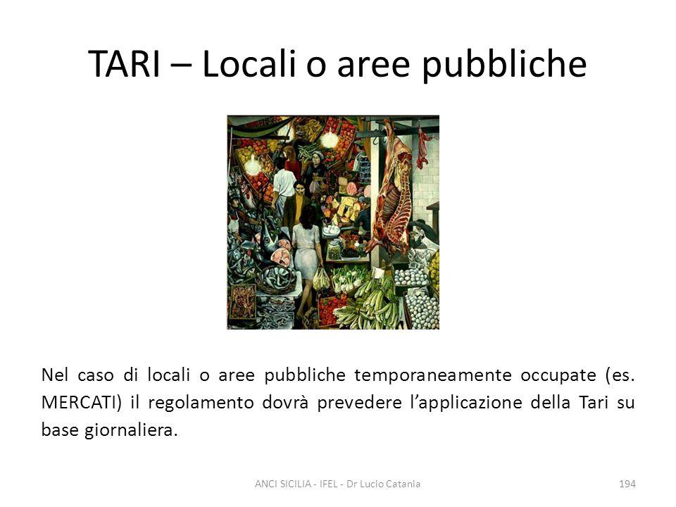TARI – Locali o aree pubbliche Nel caso di locali o aree pubbliche temporaneamente occupate (es. MERCATI) il regolamento dovrà prevedere l'applicazion