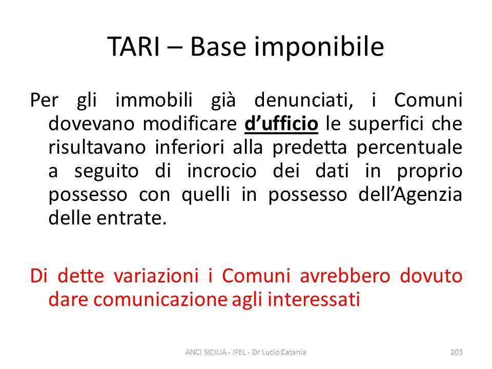 TARI – Base imponibile Per gli immobili già denunciati, i Comuni dovevano modificare d'ufficio le superfici che risultavano inferiori alla predetta pe