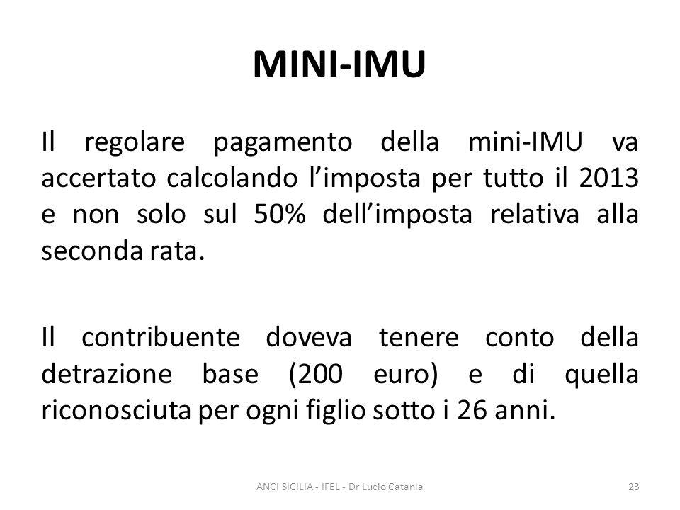 MINI-IMU Il regolare pagamento della mini-IMU va accertato calcolando l'imposta per tutto il 2013 e non solo sul 50% dell'imposta relativa alla second