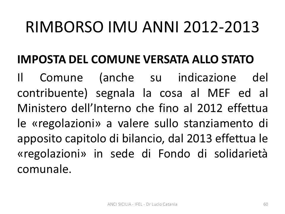 RIMBORSO IMU ANNI 2012-2013 IMPOSTA DEL COMUNE VERSATA ALLO STATO Il Comune (anche su indicazione del contribuente) segnala la cosa al MEF ed al Minis