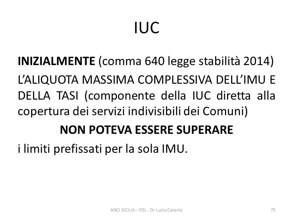 IUC INIZIALMENTE (comma 640 legge stabilità 2014) L'ALIQUOTA MASSIMA COMPLESSIVA DELL'IMU E DELLA TASI (componente della IUC diretta alla copertura de