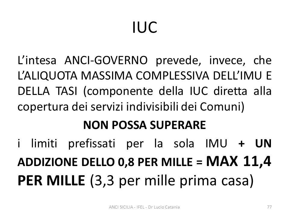 IUC L'intesa ANCI-GOVERNO prevede, invece, che L'ALIQUOTA MASSIMA COMPLESSIVA DELL'IMU E DELLA TASI (componente della IUC diretta alla copertura dei s