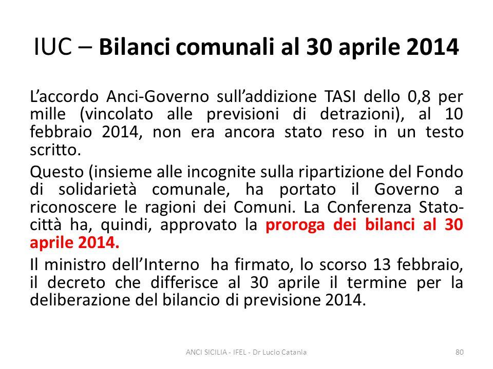 IUC – Bilanci comunali al 30 aprile 2014 L'accordo Anci-Governo sull'addizione TASI dello 0,8 per mille (vincolato alle previsioni di detrazioni), al