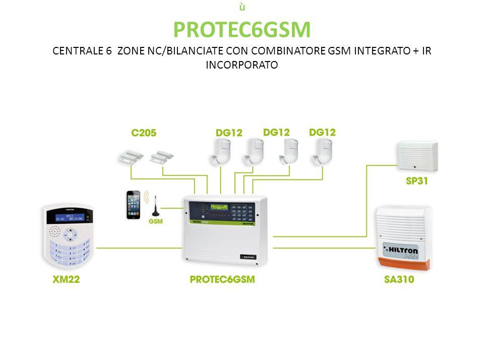 ù PROTEC6GSM CENTRALE 6 ZONE NC/BILANCIATE CON COMBINATORE GSM INTEGRATO + IR INCORPORATO