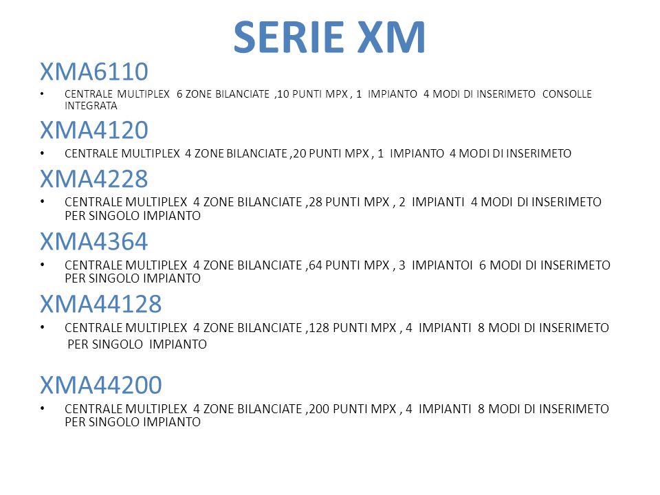 SERIE XM XMA6110 CENTRALE MULTIPLEX 6 ZONE BILANCIATE,10 PUNTI MPX, 1 IMPIANTO 4 MODI DI INSERIMETO CONSOLLE INTEGRATA XMA4120 CENTRALE MULTIPLEX 4 ZONE BILANCIATE,20 PUNTI MPX, 1 IMPIANTO 4 MODI DI INSERIMETO XMA4228 CENTRALE MULTIPLEX 4 ZONE BILANCIATE,28 PUNTI MPX, 2 IMPIANTI 4 MODI DI INSERIMETO PER SINGOLO IMPIANTO XMA4364 CENTRALE MULTIPLEX 4 ZONE BILANCIATE,64 PUNTI MPX, 3 IMPIANTOI 6 MODI DI INSERIMETO PER SINGOLO IMPIANTO XMA44128 CENTRALE MULTIPLEX 4 ZONE BILANCIATE,128 PUNTI MPX, 4 IMPIANTI 8 MODI DI INSERIMETO PER SINGOLO IMPIANTO XMA44200 CENTRALE MULTIPLEX 4 ZONE BILANCIATE,200 PUNTI MPX, 4 IMPIANTI 8 MODI DI INSERIMETO PER SINGOLO IMPIANTO