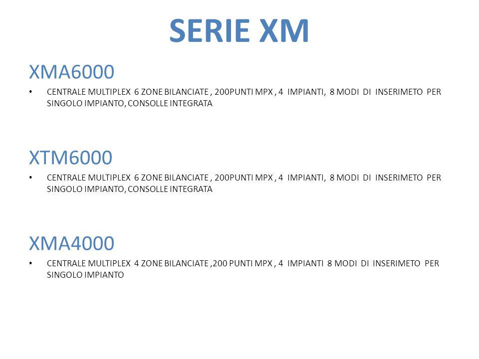 SERIE XM XMA6000 CENTRALE MULTIPLEX 6 ZONE BILANCIATE, 200PUNTI MPX, 4 IMPIANTI, 8 MODI DI INSERIMETO PER SINGOLO IMPIANTO, CONSOLLE INTEGRATA XTM6000 CENTRALE MULTIPLEX 6 ZONE BILANCIATE, 200PUNTI MPX, 4 IMPIANTI, 8 MODI DI INSERIMETO PER SINGOLO IMPIANTO, CONSOLLE INTEGRATA XMA4000 CENTRALE MULTIPLEX 4 ZONE BILANCIATE,200 PUNTI MPX, 4 IMPIANTI 8 MODI DI INSERIMETO PER SINGOLO IMPIANTO