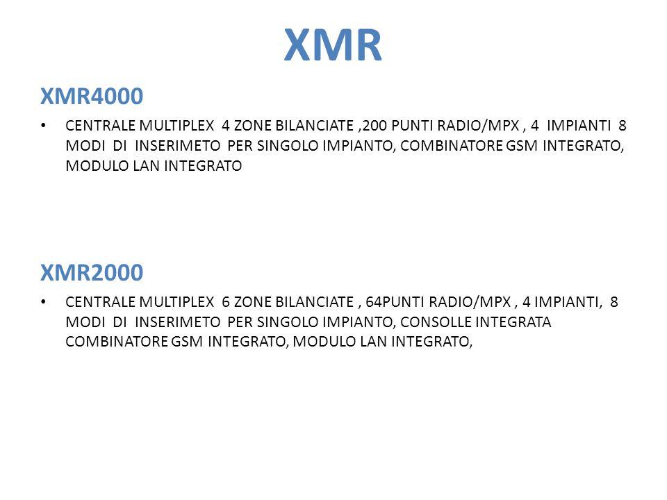 XMR XMR4000 CENTRALE MULTIPLEX 4 ZONE BILANCIATE,200 PUNTI RADIO/MPX, 4 IMPIANTI 8 MODI DI INSERIMETO PER SINGOLO IMPIANTO, COMBINATORE GSM INTEGRATO, MODULO LAN INTEGRATO XMR2000 CENTRALE MULTIPLEX 6 ZONE BILANCIATE, 64PUNTI RADIO/MPX, 4 IMPIANTI, 8 MODI DI INSERIMETO PER SINGOLO IMPIANTO, CONSOLLE INTEGRATA COMBINATORE GSM INTEGRATO, MODULO LAN INTEGRATO,