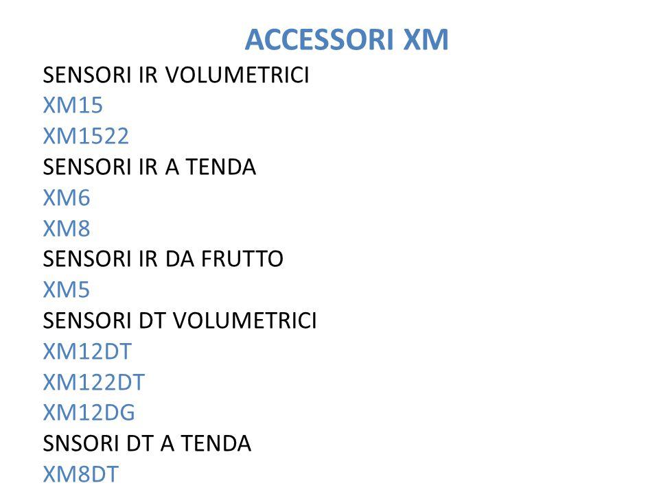 ACCESSORI XM SENSORI IR VOLUMETRICI XM15 XM1522 SENSORI IR A TENDA XM6 XM8 SENSORI IR DA FRUTTO XM5 SENSORI DT VOLUMETRICI XM12DT XM122DT XM12DG SNSORI DT A TENDA XM8DT